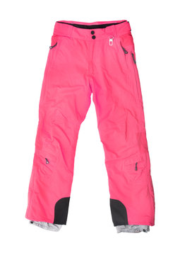 pink ski pants isolated on white