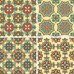 Foto auf Leinwand Marokkanische Fliesen Vector Seamless Tile Patterns