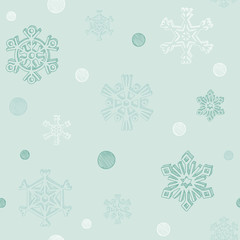 Seamless background pattern. Snowflakes in sketch style