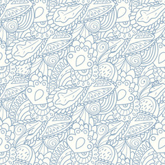 Pastel seamless pattern with hand drawn elements