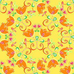 Art flower seamless pattern on the background