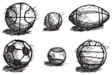Ball sketch set with shadow isolated on white background