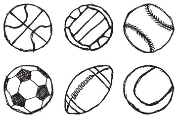 Ball sketch set simple outlined isolated on white background