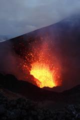 Poster Volcano Eruption: fountain lava from volcano. Kamchatka