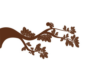 brown silhouette squirrel on a tree branch