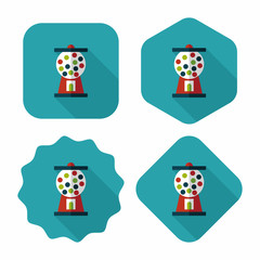 Gum ball Machine flat icon with long shadow,eps10