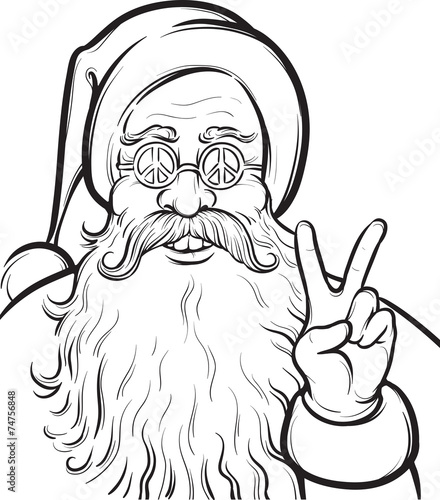 Christmas Hippie coloring page with Santa Claus Stock image and