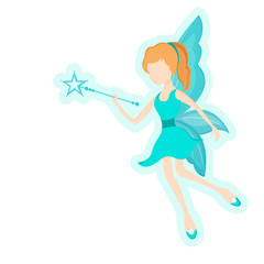 Young angel with magic stick for fairy tales.
