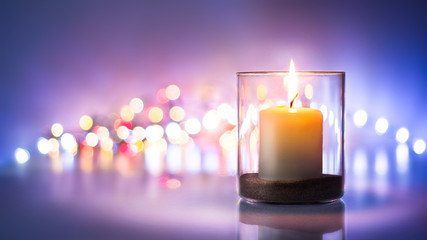 Romantic night with candlelight and bokeh background Wall mural
