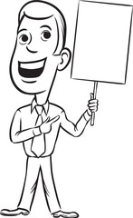 whiteboard drawing - businessman standing pointing at blank plac