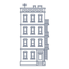 vector illustration - line drawn old building with balcony and
