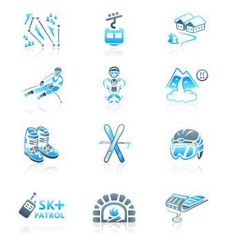 Skiing resort icons || MARINE series