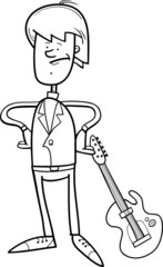 Rock Man With Guitar Coloring Page