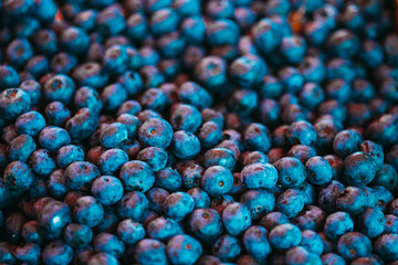 Fresh Blueberries Background Blue Texture