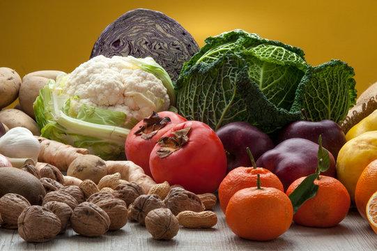 Verdure e frutta invernale mista,