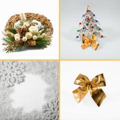 Set of Christmas decoration isolated on white background