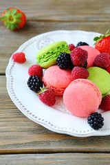Berry macaroon on a plate