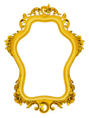 Gold baroque Frame isolated on white background.