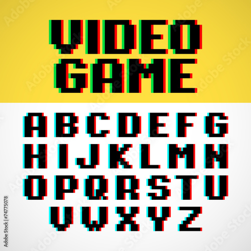 """Video Game Pixel Font With Distortion"" Stock Image And"