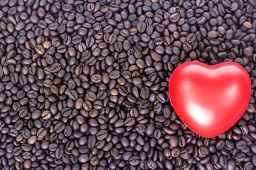 red heart on the background of coffee