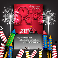 Creative 2015 new year Greeting Card with curled paper