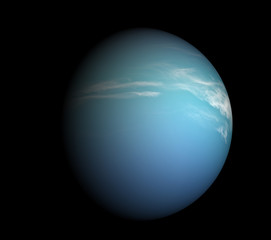 Earth-like planet beyond our solar system. Isolated on black.