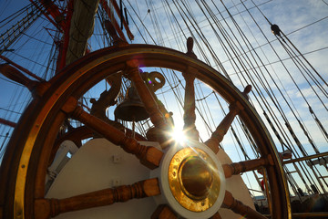 Canvas Prints Ship old wheel and rigging