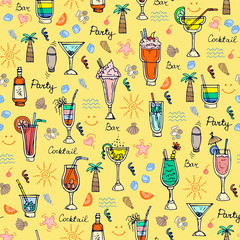Vector pattern with hand drawn summer cocktails