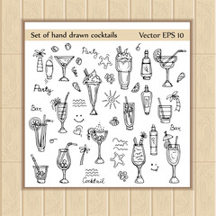 Vector set of sketches with hand drawn summer cocktails