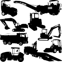 construction machines collection silhouettes - vector