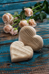 wooden hearts handmade and roses