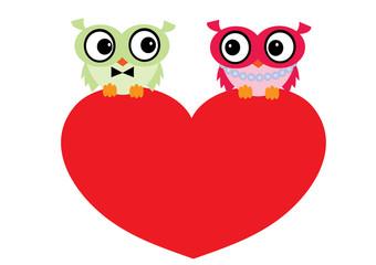sowy,serce,Walentynki