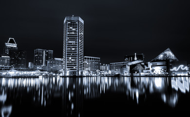 Black and white image of the Baltimore Inner Harbor Skyline at n