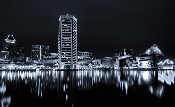 Black and white image of the Baltimore Inner Harbor Skyline at n