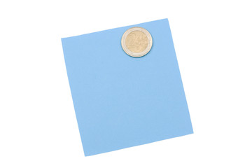 blank blue note with magnet
