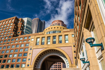 Buildings and the arch in Rowes Wharf, in Boston, Massachusetts.