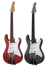 Two electric guitar isolated on white