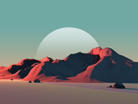 Low-Poly Mountain Landscape at Dusk with Moon