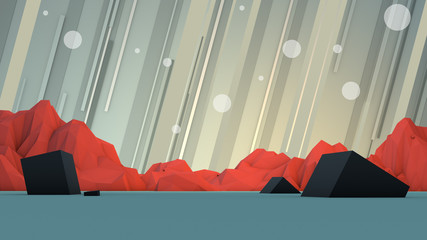 Futuristic Geometric Mountain Scene