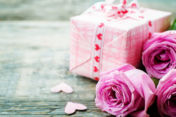 Valentine's background with a gifts, flowers and card