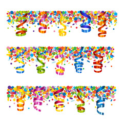 Confetti and serpentine banner