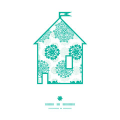 Vector abstract green decorative circles stars striped house