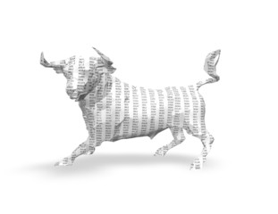 3d paper bull  with numbers texture, isolated on white