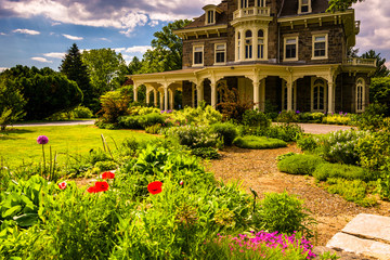 Garden and the Cylburn Mansion at Cylburn Arboretum in Baltimore