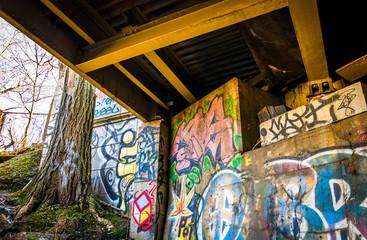Graffiti under the Howard Street Bridge in Baltimore, Maryland.