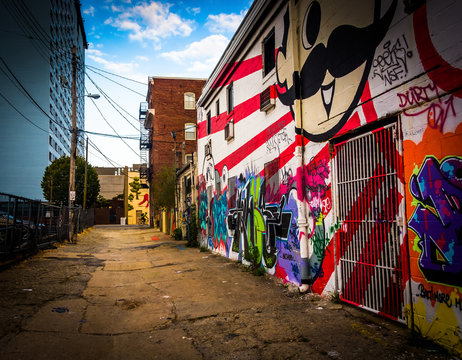 Graffiti on walls of a building in Baltimore, Maryland.