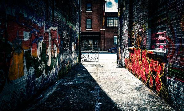 Looking toward Howard Street in the Graffiti Alley, Baltimore, M
