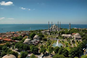 Printed kitchen splashbacks Turkey Blue Mosque Istanbul-Sultanahmet froma Hagia Sophia minaret