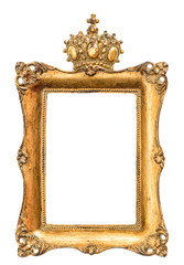 baroque golden picture frame isolated on white