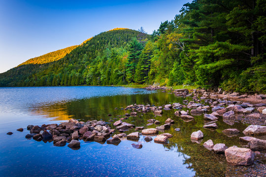 Morning reflections at Bubble Pond, in Acadia National Park, Mai